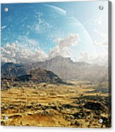 Clouds Break Over A Desert On Matsya Acrylic Print