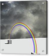 Cloudy Sky And Rainbow Acrylic Print