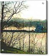 Coal Barge In Ohio River Mist Acrylic Print by Padre Art