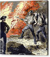 Coal Mine Fire, 19th Century Acrylic Print