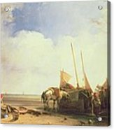 Coastal Scene In Picardy Acrylic Print by Richard Parkes Bonington