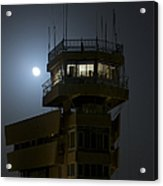 Cob Speicher Control Tower Under A Full Acrylic Print by Terry Moore
