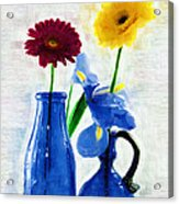 Cobalt Blue Glass Bottles And Gerbera Daisies Acrylic Print
