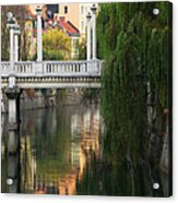 Cobblers Bridge And Morning Reflections In Ljubljana Acrylic Print by Greg Matchick