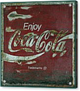 Coca Cola Green Red Grunge Sign Acrylic Print