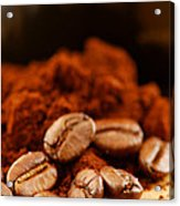 Coffee Beans And Ground Coffee Acrylic Print by Elena Elisseeva