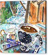 Coffee Break In Elos In Crete Acrylic Print