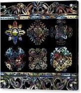 Coffee Flowers Ornate Medallions 6 Piece Collage Aurora Borealis Acrylic Print