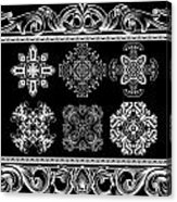 Coffee Flowers Ornate Medallions Bw 6 Piece Collage Framed  Acrylic Print