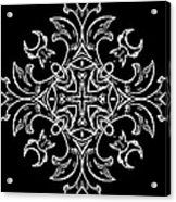 Coffee Flowers Ornate Medallions Bw Vertical Tryptych 1 Acrylic Print