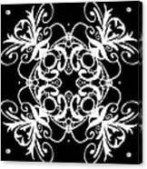 Coffee Flowers Ornate Medallions Bw Vertical Tryptych 2 Acrylic Print