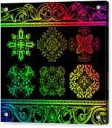 Coffee Flowers Ornate Medallions Color 6 Piece Callage 1 Acrylic Print