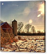 Cold Winter Barn Acrylic Print