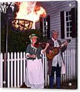 Colonial Musicians By Firelight Acrylic Print