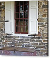 Colonial Shutters Window Frame Stone Wall Wood Box Acrylic Print