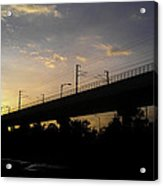 Color Of Sunset Over Metro Pillar In Delhi Acrylic Print