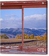 Colorado Country Red Rustic Picture Window Frame Photo Art Acrylic Print