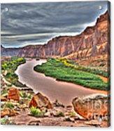 Colorado River Flows Through A Stormy Moab Portal Acrylic Print