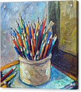 Colored Pencils In Butter Crock Acrylic Print by Jean Groberg