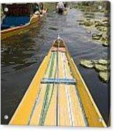 Colorful Boats On Dal Lake Dal Lake Acrylic Print