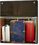 Colorful But Worn Luggage Awaits Acrylic Print