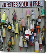 Colorful Lobster Buoys Hang On A New Acrylic Print by Stephen St. John
