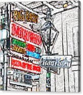 Colorful Neon Sign On Bourbon Street Corner French Quarter New Orleans Colored Pencil Digital Art Acrylic Print