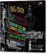 Colorful Neon Sign On Bourbon Street Corner French Quarter New Orleans Glowing Edges Digital Art Acrylic Print