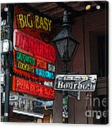 Colorful Neon Sign On Bourbon Street Corner French Quarter New Orleans Poster Edges Digital Art Acrylic Print