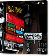 Colorful Neon Sign On Bourbon Street Corner French Quarter New Orleans Watercolor Digital Art Acrylic Print
