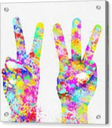 Colorful Painting Of Hands Number 0-5 Acrylic Print by Setsiri Silapasuwanchai