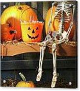 Colorful Pumpkins And Skeleton On Bench Acrylic Print