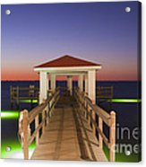 Colorful Sunrise With Fishing Pier At The Texas Gulf Coast Acrylic Print