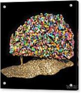 Colorful Welded Steel Encaustic On Wood Sculpture Acrylic Print