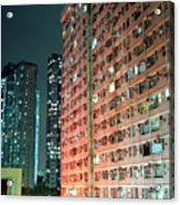 Colors Of A Housing Estate At Night Acrylic Print