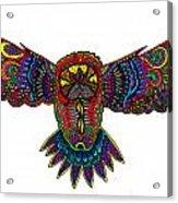 Coloured Owl Acrylic Print by Karen Elzinga