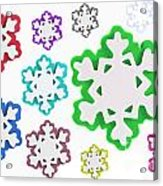 Coloured Snowflakes Isolated Acrylic Print