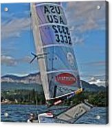 Columbia River Gorge Sailboat Racing Acrylic Print