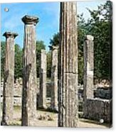 Columns At Olympia Greece Acrylic Print by Eva Kaufman