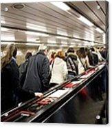 Commuters On Escalators In Prague Metro Acrylic Print