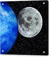 Computer Artwork Of Full Moon And Earth's Limb Acrylic Print