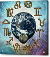 Computer Artwork Of The Zodiac Signs Around Earth Acrylic Print