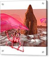 Computer Artwork Of Women Hang-gliding On Mars Acrylic Print