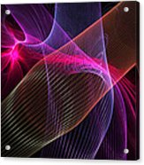 Computer Generated Blue Pink Abstract Fractal Flame Modern Art Acrylic Print