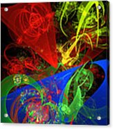 Computer Generated Blue Red Green Abstract Fractal Flame Modern Art Acrylic Print