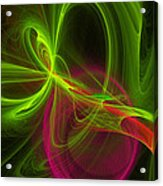 Computer Generated Green Magenta Abstract Fractal Modern Art Acrylic Print