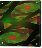 Computer Generated Green Triangles Abstract Fractal Flame Abstract Art Acrylic Print
