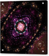 Computer Generated Pink Magenta Abstract Fractal Flame Black Background Acrylic Print