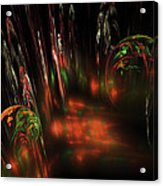 Computer Generated Red Green Abstract Fractal Flame Modern Art Acrylic Print