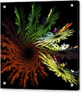 Computer Generated Red Yellow Green Abstract Fractal Flame Black Acrylic Print